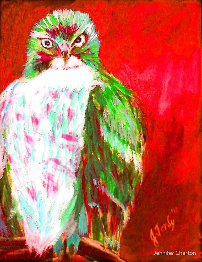 Red Hawk Painting by Jennifer Charton