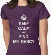 Keep Calm and Find Mr. Darcy Jane Austen Dark Color Women's Fitted T-Shirt