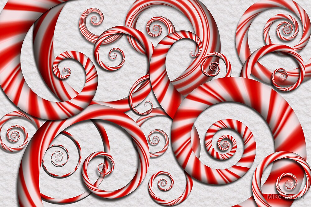 Abstract - Spirals - Peppermint Dreams by Mike  Savad