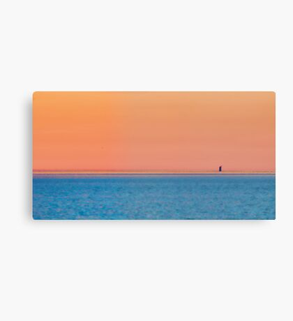 Abstract sunset with a lighthouse Canvas Print