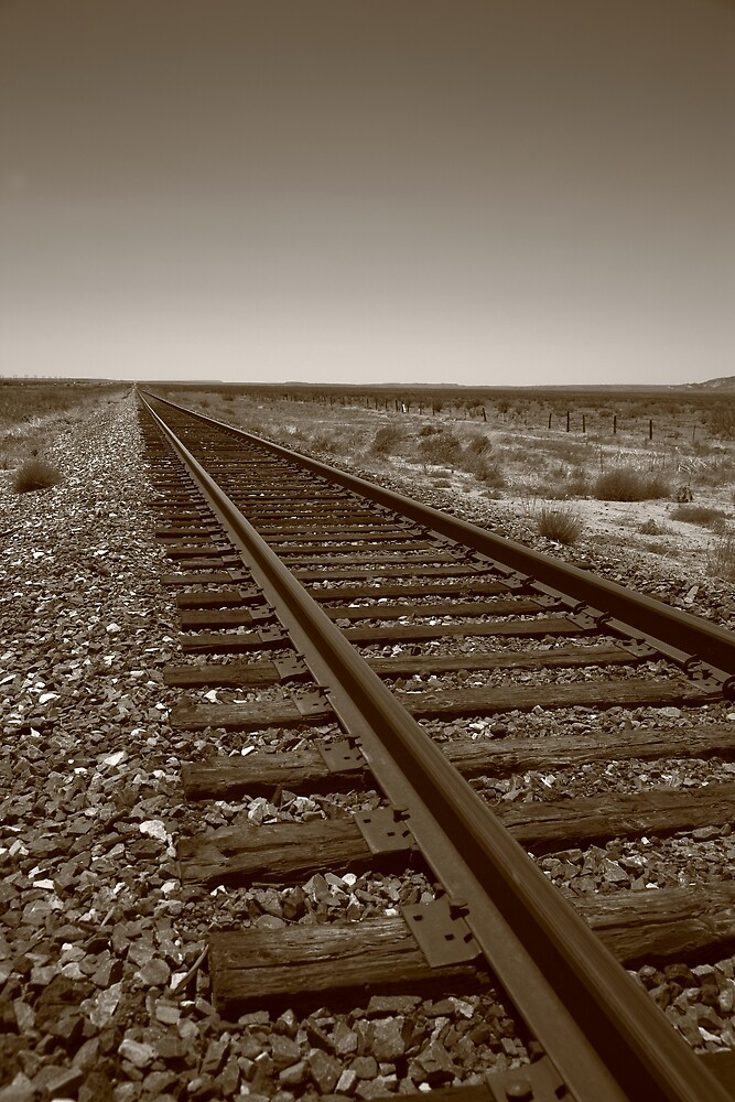 Railroad Tracks, Sepia by Frank Romeo