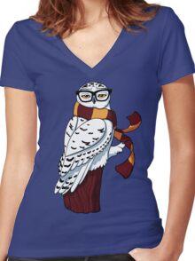 Hipster Owl Women's Fitted V-Neck T-Shirt