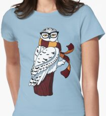 Hipster Owl Womens Fitted T-Shirt