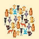 Cute colorful assorted animals kids design by artonwear