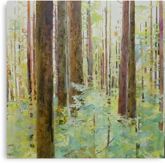 Seeing the Forest through the Trees, watercolor and mixed media on paper mounted on board, wax finish by Sandrine Pelissier