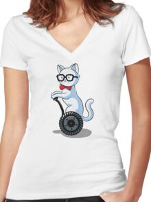 White and Nerdy Women's Fitted V-Neck T-Shirt