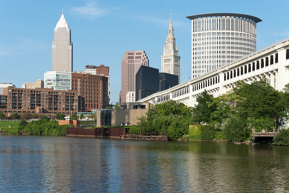 Cleveland From The River Bank by StonePhotos