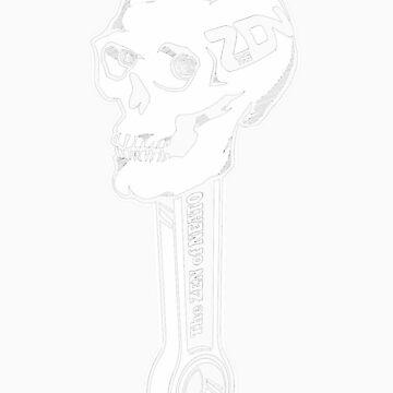 ZON Skull (white ink) by brichar9