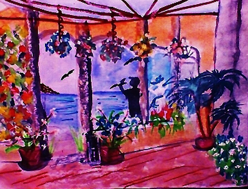 Sunny Patio with a view, watercolor by Anna  Lewis, blind artist