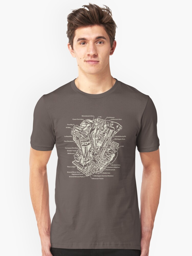 Detroit POWER! (tan ink) Unisex T-Shirt Front