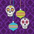 Holiday Skulls and Ornaments by Tammy Wetzel