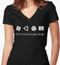 Get Along (B&W) Women's Fitted V-Neck T-Shirt