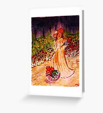 Gathering flowers along path, watercolor Greeting Card