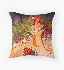 Gathering flowers along path, watercolor Throw Pillow