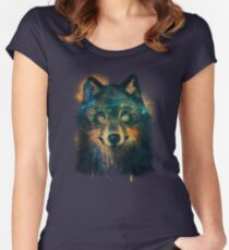 Galaxy Wolf Women's Fitted Scoop T-Shirt