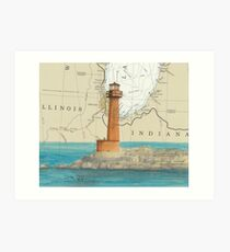 Buffington Harbor Lighthouse IN Nautical Map Cathy Peek Art Print