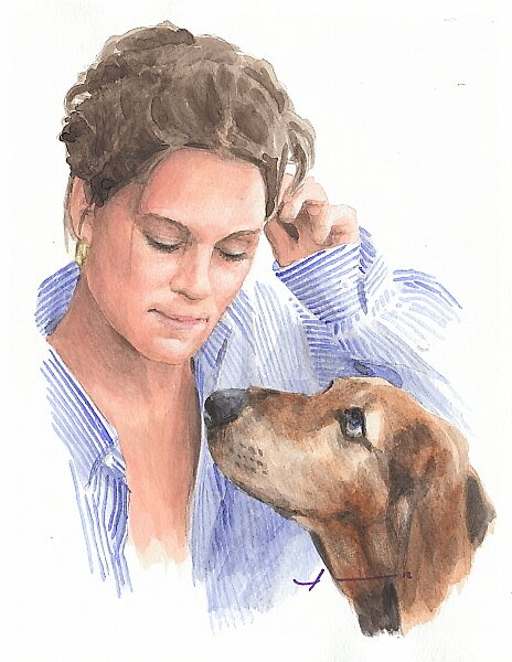 Woman and dog watercolor by Mike Theuer