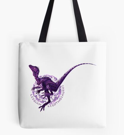 Lesbian Lesothosaurus (with text)  Tote Bag