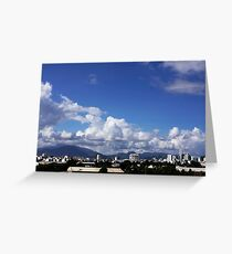 blue sky with clouds closeup clean and bright Greeting Card