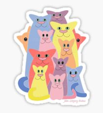Twelve Cats For Happiness Sticker