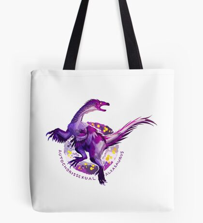 Autochorissexual Alxasaurus (with text)  Tote Bag