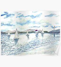 sailboats sailing seascape beach watercolour painting art print Poster
