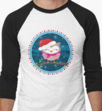 FESTIVE CHRISTMAS T-SHIRT :: girl owl night time Men's Baseball ¾ T-Shirt