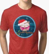 FESTIVE CHRISTMAS T-SHIRT :: girl owl night time Tri-blend T-Shirt