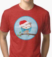 FESTIVE CHRISTMAS T-SHIRT :: boy owl day time Tri-blend T-Shirt