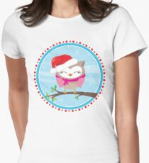 FESTIVE CHRISTMAS T-SHIRT :: girl owl day time Women's Fitted T-Shirt