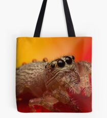 (Servaea vestita) Jumping Spider On Rose #3 Tote Bag