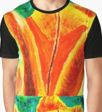 Bright Yellow Orange Tulip Acrylic Floral Painting Graphic T-Shirt
