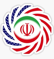 Iranian American Multinational Patriot Flag Series Sticker