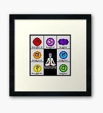 Yoga Reiki Seven Chakras Symbols chart Framed Print