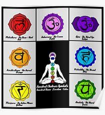 Yoga Reiki Seven Chakras Symbols chart Poster