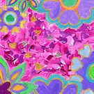 Girly Heart-Shaped Valentine Floral Acrylic Painting by Beverly Claire Kaiya