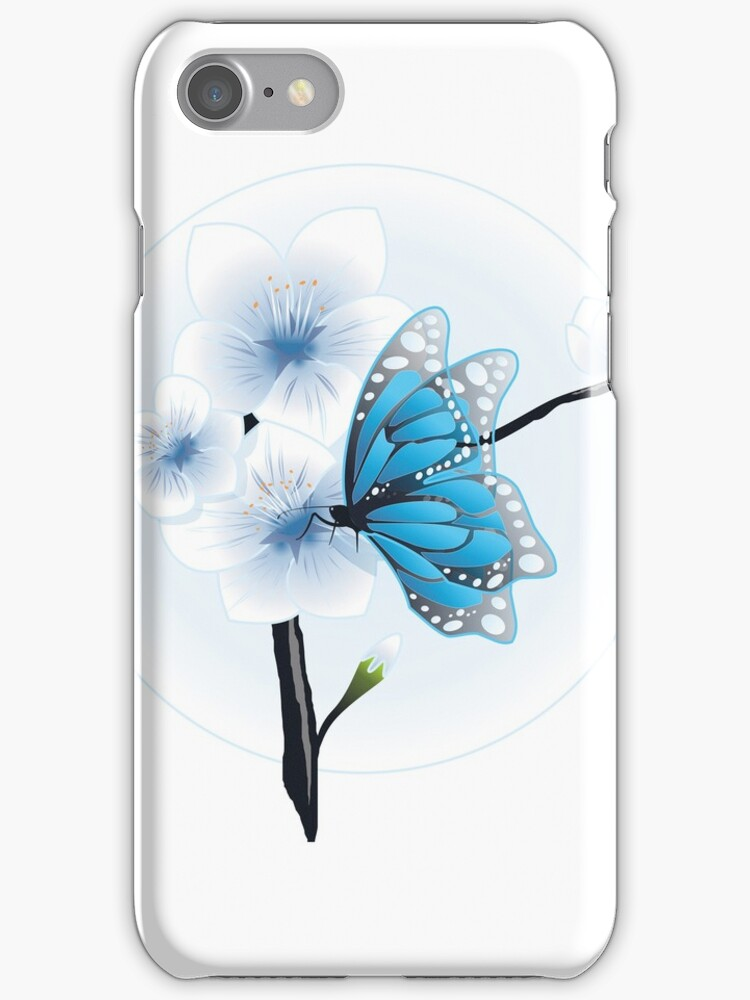 Joy Of Spring Case - Spring Blossom & Blue Butterfly by ruxique