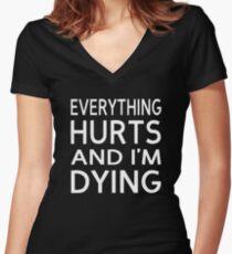 Alles tut weh und ich sterbe Shirt mit V-Ausschnitt