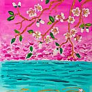 Cherry Blossom Branch Sakura Water Ripples Acrylic Painting by Beverly Claire Kaiya