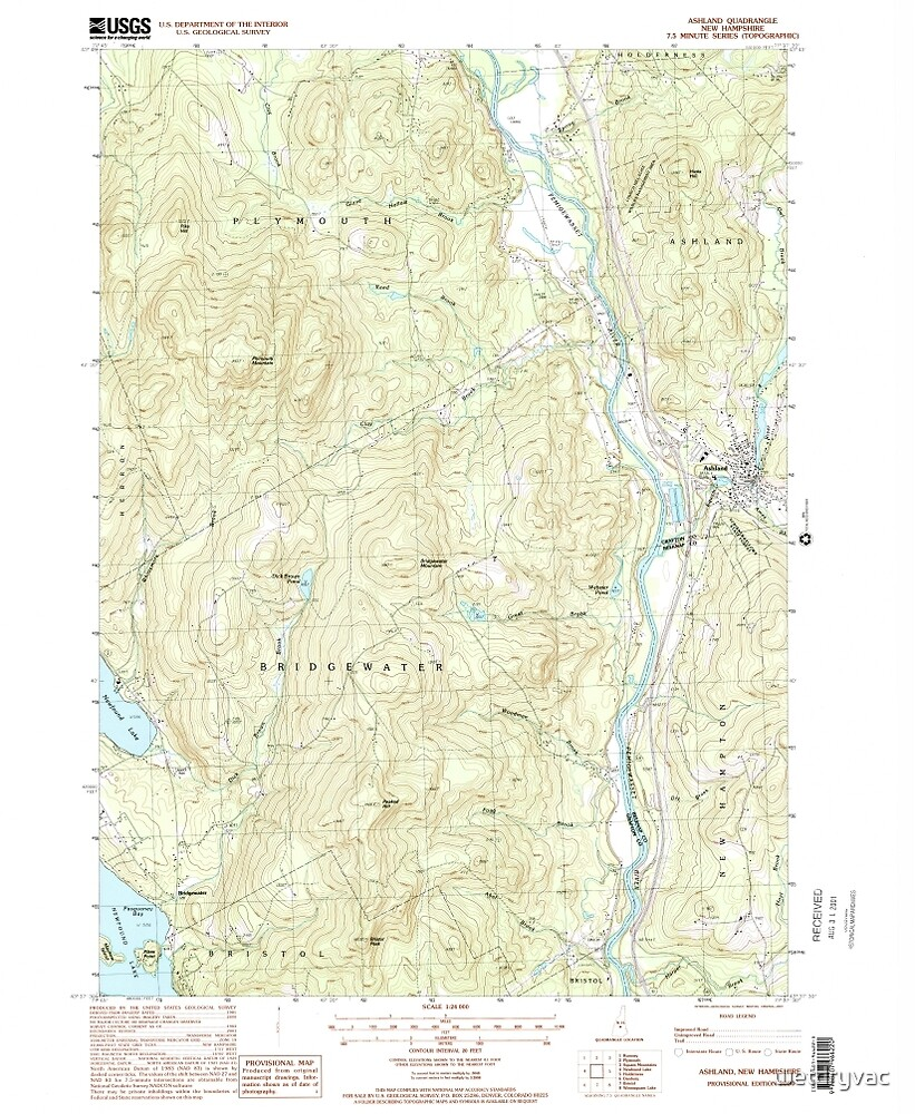 USGS TOPO Map New Hampshire NH Ashland 329469 2000 24000 by wetdryvac
