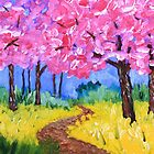 Cherry Trees Field Mustard After the Rain Painting by Beverly Claire Kaiya