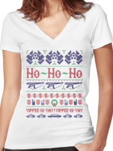 McClane Christmas Sweater Women's Fitted V-Neck T-Shirt