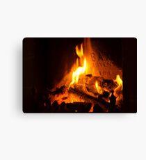 open log fire Canvas Print