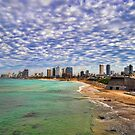 Tel Aviv turquoise sea at springtime by Ronsho