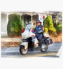 Suburban Motorcycle Cop Poster