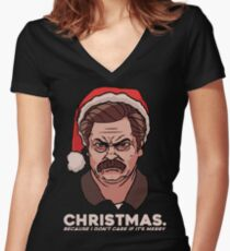 Ron Swanson Christmas Women's Fitted V-Neck T-Shirt