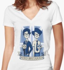 Nerd Britannia Women's Fitted V-Neck T-Shirt