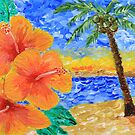 Tropical Beach Hibiscus Coconut Tree Sunrise Painting by Beverly Claire Kaiya