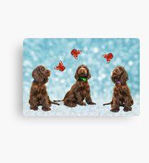 3 Puppies & The Butterflies Canvas Print