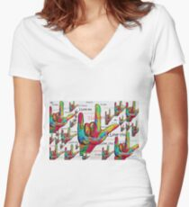 LOVE IN ANY LANGUAGE Women's Fitted V-Neck T-Shirt